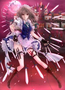 Rating: Questionable Score: 27 Tags: izayoi_sakuya maid mickey_dunn pantsu touhou weapon User: D-king