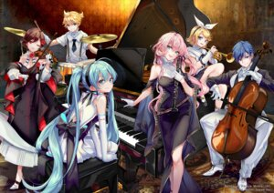 Rating: Safe Score: 18 Tags: cleavage dress hatsune_miku hatsune_miku_symphony heels kagamine_len kagamine_rin kaito megurine_luka meiko pisuke thighhighs vocaloid User: Mr_GT