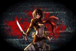 Rating: Safe Score: 7 Tags: mikasa_ackerman shingeki_no_kyojin sword tagme uniform User: hkr008