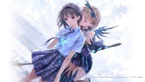Rating: Safe Score: 21 Tags: blue_reflection blue_reflection_tie hirahara_hiori kishida_mel seifuku thighhighs wallpaper wings yuri User: saemonnokami