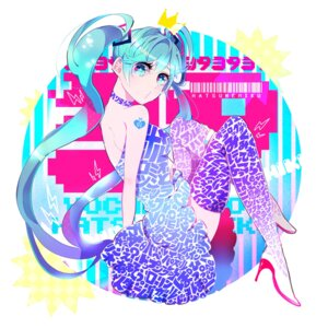 Rating: Safe Score: 6 Tags: dress hatsune_miku heels kisaragi_yuu tattoo thighhighs vocaloid User: charunetra