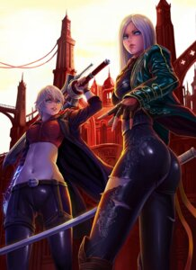 Rating: Safe Score: 50 Tags: ass dantewontdie devil_may_cry genderswap nero sword torn_clothes vergil User: charunetra