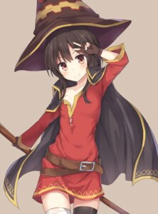 Rating: Safe Score: 74 Tags: bandages dnwls3010 dress kono_subarashii_sekai_ni_shukufuku_wo! megumin no_bra open_shirt thighhighs witch User: memes