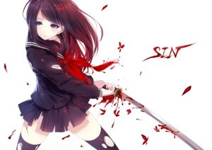 Rating: Safe Score: 75 Tags: blood caidychen seifuku sword thighhighs torn_clothes User: Mr_GT