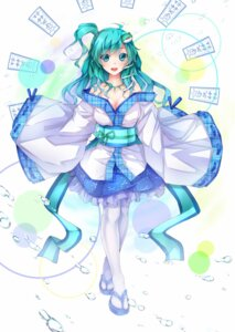 Rating: Safe Score: 35 Tags: cleavage dabadhi japanese_clothes kochiya_sanae pantyhose touhou User: Nekotsúh