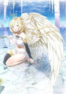 Rating: Questionable Score: 21 Tags: angel areola bra kawarage pantsu pointy_ears see_through thighhighs wet wet_clothes wings User: yanis