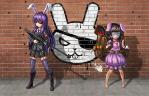 Rating: Safe Score: 18 Tags: animal_ears bunny_ears eyepatch gun han_dai inaba_tewi reisen_udongein_inaba stockings thighhighs touhou User: Mr_GT