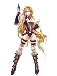 Rating: Safe Score: 23 Tags: blazing_souls cleavage elf fairuza fishnets garter hirano_katsuyuki leotard pointy_ears sword thighhighs User: Radioactive