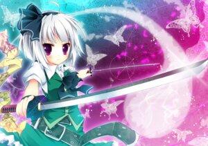 Rating: Safe Score: 15 Tags: konpaku_youmu nanamomo_rio sword touhou User: fireattack