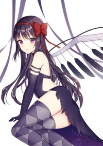 Rating: Questionable Score: 16 Tags: akemi_homura dress mochiko_(uyu_omochi) puella_magi_madoka_magica skirt_lift thighhighs wings User: Arsy