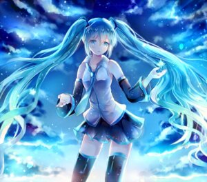 Rating: Safe Score: 16 Tags: hatsune_miku iceblue thighhighs vocaloid User: yuu_chan