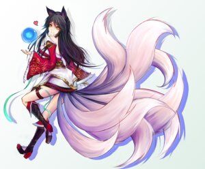 Rating: Safe Score: 47 Tags: ahri animal_ears garter heels hiiro_(pixiv) kimono kitsune league_of_legends tail User: mash