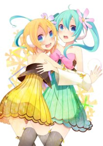 Rating: Safe Score: 30 Tags: cleavage dress hatsune_miku kagamine_rin temari_(artist) thighhighs vocaloid User: charunetra