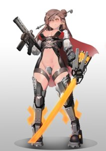 Rating: Questionable Score: 8 Tags: armor cleavage gun ihobus maebari no_bra nopan sword tagme thighhighs User: Dreista