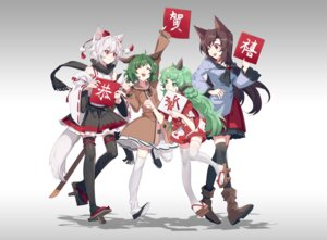 Rating: Safe Score: 3 Tags: aibivy animal_ears horns imaizumi_kagerou inubashiri_momiji kasodani_kyouko komano_aun tail thighhighs touhou User: Mr_GT