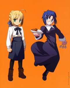 Rating: Safe Score: 7 Tags: chibi ciel fate/stay_night pantyhose saber takeuchi_takashi tsukihime type-moon User: Aurelia