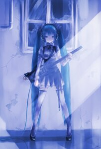 Rating: Safe Score: 31 Tags: dress guitar hatsune_miku headphones kowiru thighhighs vocaloid User: charunetra