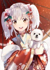 Rating: Safe Score: 22 Tags: animal_ears derori kimono umbrella User: Mr_GT