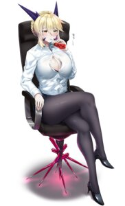 Rating: Safe Score: 38 Tags: artoria_pendragon_alter_(fate/grand_order) bra cleavage fate/grand_order heels hitotsuki_nebura horns open_shirt pantyhose User: Ricetaffy