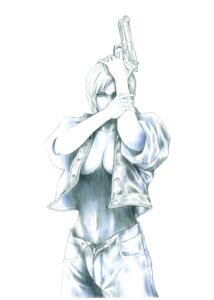 Rating: Questionable Score: 12 Tags: aya_brea cleavage gun monochrome no_bra open_shirt parasite_eve square_enix tagme User: Radioactive