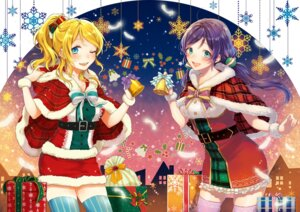 Rating: Safe Score: 15 Tags: ayase_eli christmas dress love_live! sudach_koppe thighhighs toujou_nozomi User: Mr_GT