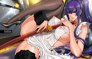 Rating: Questionable Score: 182 Tags: busujima_saeko fei heels highschool_of_the_dead jpeg_artifacts maidoll naked_apron nipples see_through sword thighhighs User: Mr_GT