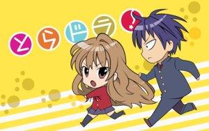 Rating: Safe Score: 7 Tags: aisaka_taiga chibi seifuku takasu_ryuuji toradora! wallpaper yasu User: withul