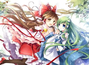 Rating: Safe Score: 31 Tags: hakurei_reimu kochiya_sanae marimo_moka pantyhose touhou User: Mr_GT