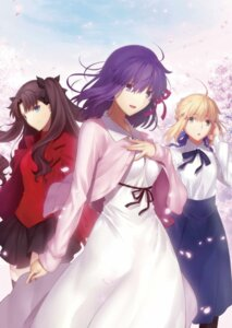 Rating: Safe Score: 73 Tags: dress fate/stay_night fate/stay_night_heaven's_feel matou_sakura possibly_upscaled? saber toosaka_rin User: mood