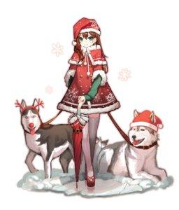 Rating: Safe Score: 14 Tags: christmas dress mincho shibuya_rin the_idolm@ster the_idolm@ster_cinderella_girls thighhighs umbrella User: Dreista