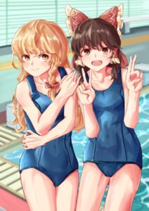 Rating: Safe Score: 12 Tags: hakurei_reimu kirisame_marisa school_swimsuit swimsuits tagme touhou User: leotard