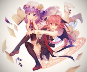 Rating: Safe Score: 45 Tags: koakuma niwashi patchouli_knowledge thighhighs touhou wings User: Mr_GT