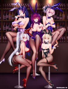Rating: Safe Score: 121 Tags: animal_ears ass breast_hold bunny_ears bunny_girl fate/grand_order fishnets garter heels minamoto_no_raikou_(fate/grand_order) miyamoto_musashi_(fate/grand_order) no_bra obiwan pantyhose sakura_saber scathach_(fate/grand_order) tail tomoe_gozen_(fate/grand_order) undressing User: BattlequeenYume