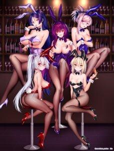 Rating: Questionable Score: 79 Tags: animal_ears ass breast_hold bunny_ears bunny_girl fate/grand_order fishnets garter heels minamoto_no_raikou_(fate/grand_order) miyamoto_musashi_(fate/grand_order) no_bra obiwan pantyhose sakura_saber scathach_(fate/grand_order) tail tomoe_gozen_(fate/grand_order) undressing User: BattlequeenYume