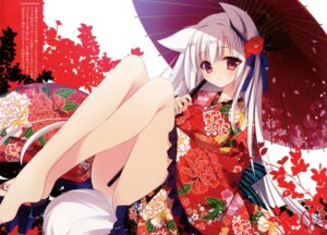 Rating: Safe Score: 101 Tags: animal_ears feet kimono nanaca_mai nanacan tail umbrella User: Twinsenzw