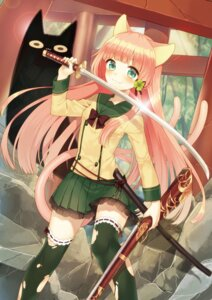 Rating: Safe Score: 30 Tags: animal_ears garter gun midorikawa_you neko nekomimi seifuku sword tail thighhighs torn_clothes User: Radioactive