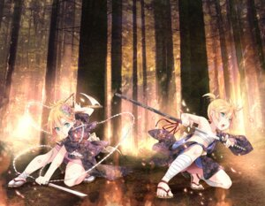 Rating: Safe Score: 28 Tags: hpflower japanese_clothes kagamine_len kagamine_rin sword vocaloid User: 椎名深夏
