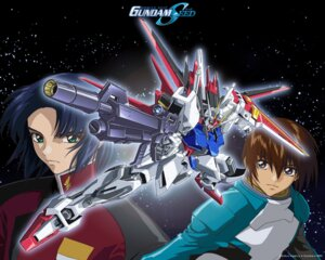 Rating: Safe Score: 5 Tags: aile_strike_gundam athrun_zala bodysuit gundam gundam_seed hirai_hisashi kira_yamato male mecha uniform wallpaper User: Chaosmage