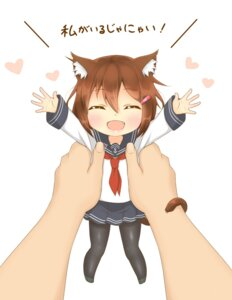 Rating: Safe Score: 30 Tags: animal_ears chibi ikazuchi_(kancolle) kantai_collection kyounami nekomimi pantyhose seifuku tail User: Mr_GT