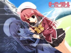 Rating: Safe Score: 9 Tags: boy_meets_girl seifuku shintarou tsubasa_miu wallpaper User: Radioactive