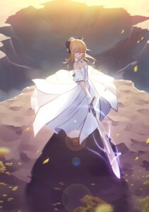 Rating: Safe Score: 95 Tags: cleavage dress fate/stay_night maredoro saber saber_lily sword User: Mr_GT