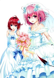 Rating: Safe Score: 101 Tags: color_issue dress kurosaki_mea momo_velia_deviluke tail to_love_ru to_love_ru_darkness wedding_dress yabuki_kentarou User: 椎名深夏