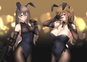 Rating: Safe Score: 61 Tags: animal_ears bunny_ears bunny_girl cleavage girls_frontline gun hayabusa pantyhose tail ump45_(girls_frontline) ump9_(girls_frontline) User: Mr_GT