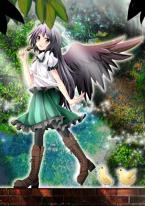 Rating: Safe Score: 16 Tags: kiki_(koikuchikinako) reiuji_utsuho thighhighs touhou wings User: 椎名深夏