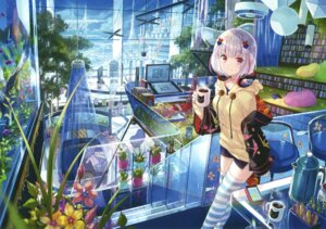 Rating: Safe Score: 82 Tags: fuzichoko headphones landscape thighhighs User: Twinsenzw