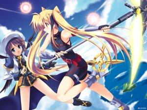 Rating: Safe Score: 12 Tags: fate_testarossa kouzuki_hajime mahou_shoujo_lyrical_nanoha mahou_shoujo_lyrical_nanoha_a's wallpaper weapon wings yagami_hayate User: withul