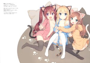 Rating: Questionable Score: 127 Tags: animal_ears breasts dress hazuki_watora luminocity minazuki_sarami nekomimi no_bra nopan open_shirt peco shimotsuki_potofu tail thighhighs User: Twinsenzw