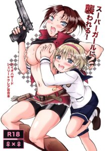 Rating: Questionable Score: 18 Tags: bike_shorts breast_hold breasts gun loli mira_(artist) no_bra open_shirt peachpulsar resident_evil seifuku shirt_lift yuri User: NotRadioactiveHonest