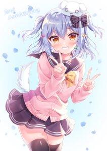 Rating: Safe Score: 34 Tags: animal_ears inuyama_tamaki seifuku siooooono skirt_lift sweater tail thighhighs trap tsukudani_norio_channel User: Mr_GT