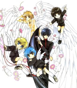 Rating: Safe Score: 1 Tags: clamp clamp_school_detectives ijuuin_akira imonoyama_nokoru kohaku_(wish) shirou_kamui takamura_suou usagi_(wish) wings wish x User: Share